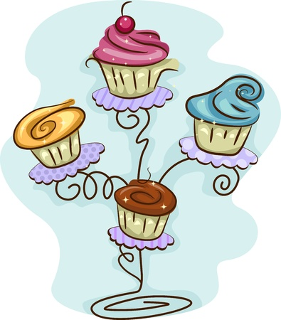 cake stand: Illustration of a Cupcake Stand Filled with Cupcakes