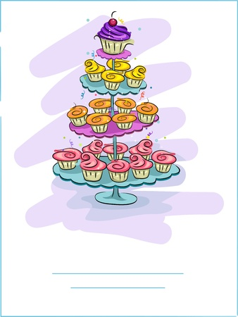 Greeting Card Illustration Featuring a Stand Full of Cupcakes illustration