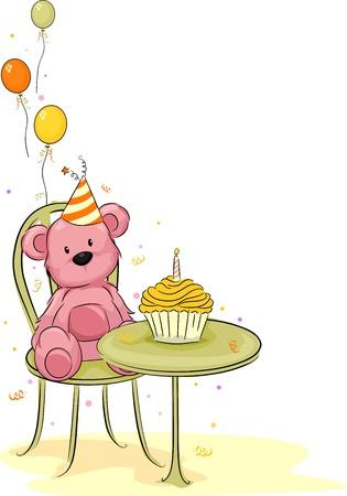 Illustration of a Toy Bear Celebrating its Birthday illustration