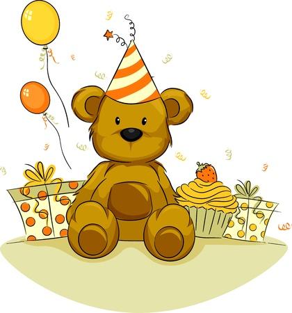 oso caricatura: Ilustración de un oso de juguete que celebra su cumpleaños Foto de archivo
