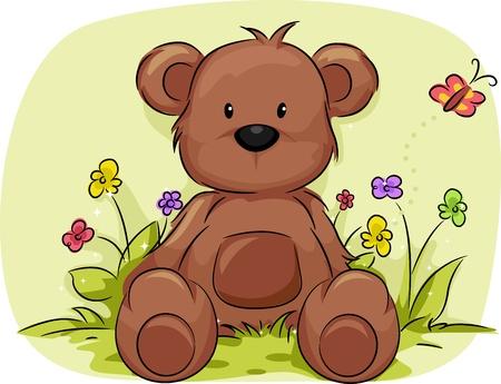 oso caricatura: Ilustración de un osito de peluche rodeado de plantas