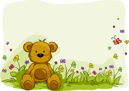 teddy bear: Illustration of a Toy Bear Surrounded by Plants Stock Photo