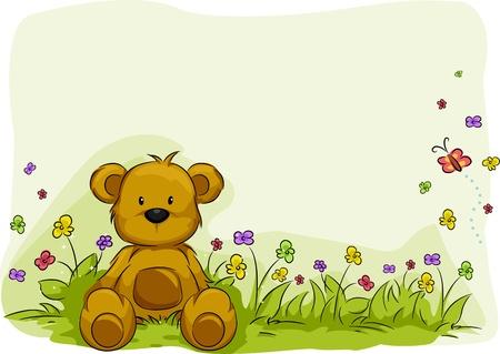 teddy bear: Ilustraci�n de un osito de peluche rodeado de plantas