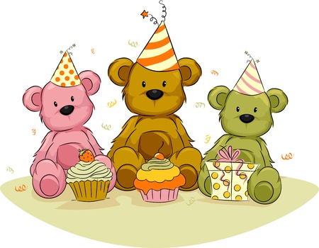 birthday cupcakes: Illustration of Toy Bears Celebrating Their Birthdays