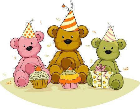 osos de peluche: Ilustraci�n de juguete lleva celebrando sus cumplea�os Foto de archivo