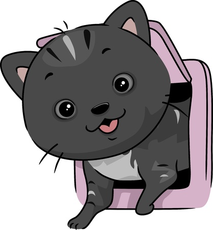 Illustration of a Cat Coming Out Through a Cat Flap Stock Photo