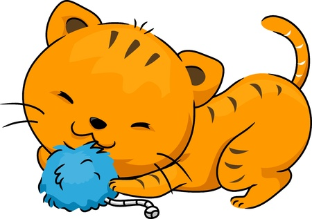 Illustration of a Cat Playing with a Catnip Toy