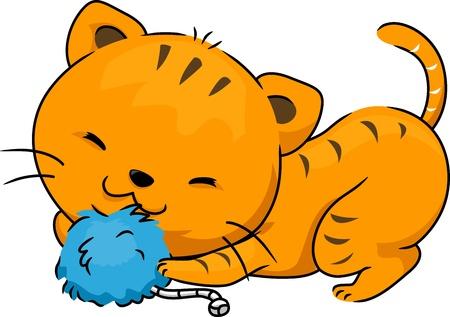 nepeta cataria: Illustrazione di un gatto che gioca con un giocattolo Catnip