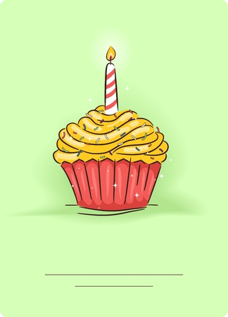 b day: Greeting Card Illustration Featuring a Cupcake with a Candle on Top