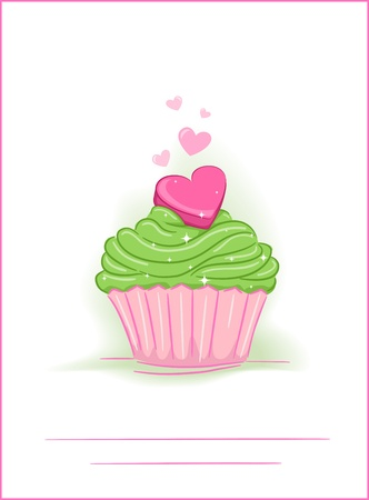 Greeting Card Illustration Featuring a Cupcake with a Heart on Top Stock Illustration - 12742696
