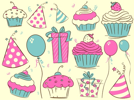 b day parties: Illustration of Cupcakes and Other Birthday-Related Items Stock Photo