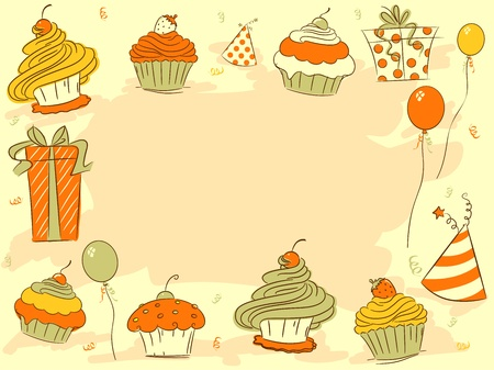 b day parties: Background Illustration Featuring Cupcakes Stock Photo