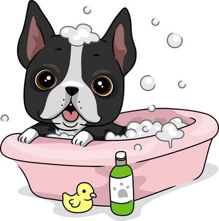 Illustration of a Dog Taking a Bath