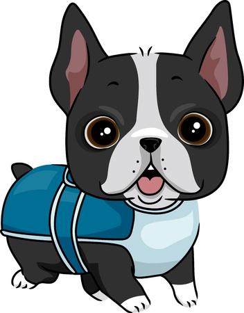 Illustration of a Dog Wearing a Coat illustration