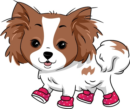 Illustration of a Dog Wearing Boots illustration