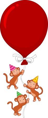 Illustration of Monkeys Holding on to a Large Balloon illustration