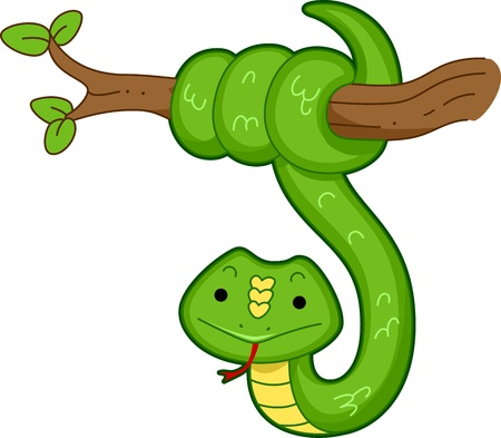 Illustration of a Snake Hanging from the Branch of a Tree illustration