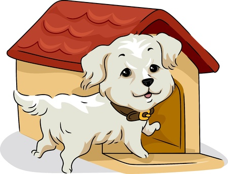 kennel: Illustration of a Golden Retriever and His Dog House