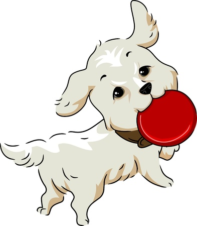 Illustration of a Golden Retriever Retrieving a Frisbee illustration