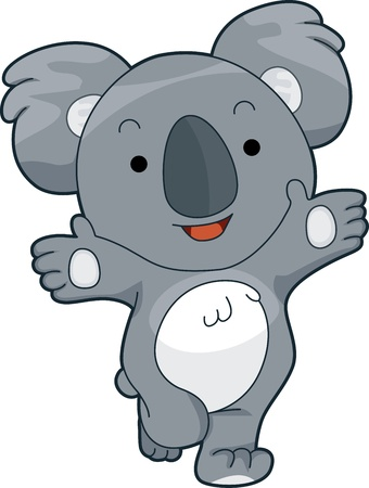 coala: Ilustraci�n de un Koala agradable que ofrece un abrazo Foto de archivo