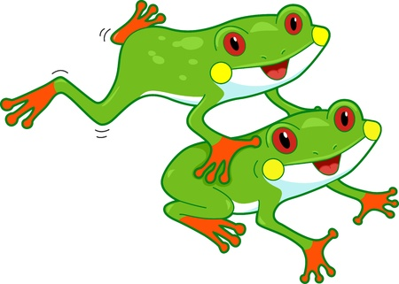 leap: Illustration of a Pair of Rainforest Frogs in Mid-motion
