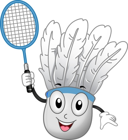 birdie: Illustration of a Shuttlecock Mascot Holding a Badminton Racket Stock Photo