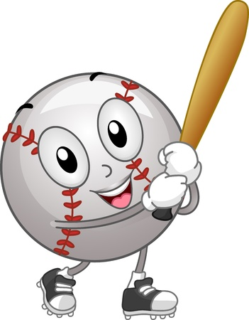 baseball cartoon: Illustration of a Baseball Mascot Holding a Bat