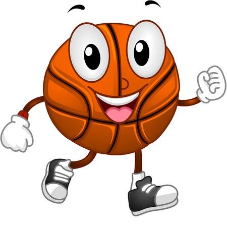 basket: Illustrazione di un Mascot Basketball Walking