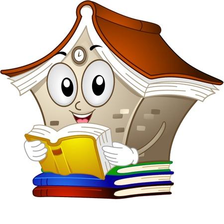 reference book: Ilustraci�n de una mascota de la Biblioteca Lectura de un libro