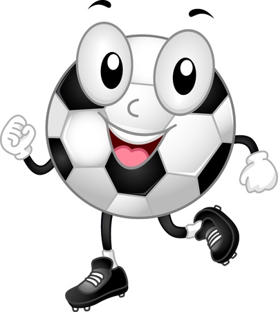 ballon foot: Illustration d'un ballon de soccer mascotte Walking Heureusement Banque d'images