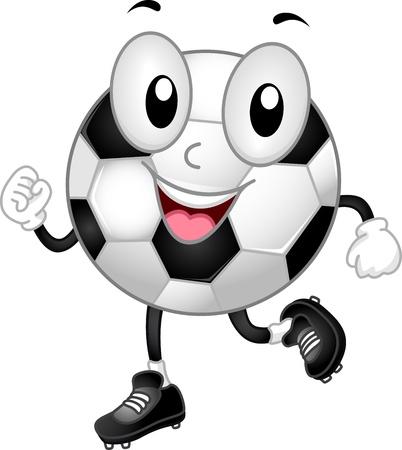 pelota de futbol: Ilustraci�n de una mascota de balones de f�tbol Ruta Felizmente