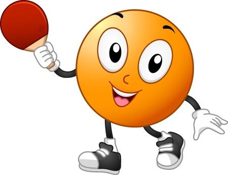 tischtennis: Illustration eines Tischtennis-Maskottchen Holding ein Racket