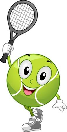 Illustration of a Tennis Ball Mascot Holding a Racket illustration