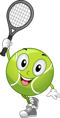 tennis serve: Illustration of a Tennis Ball Mascot Holding a Racket