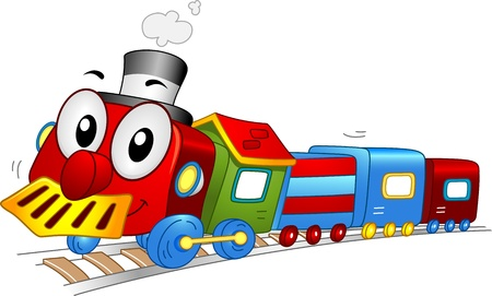 tren caricatura: Ilustración de una mascota de trenes de juguete