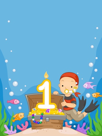 first birthday: Illustration of a Boy Celebrating His Birthday Underwater Stock Photo