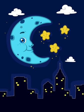 cloud clipart: Illustration Depicting a Peaceful Night