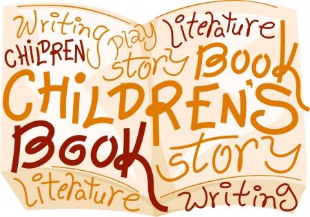 childrens book: Text Illustration Celebrating Childrens Book Day Stock Photo