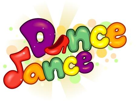 tanzen cartoon: Text Illustration mit einem Thema Tanzen Lizenzfreie Bilder