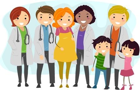 Pacjent: Ilustracja Lekarzy w otoczeniu swoich pacjentów Zdjęcie Seryjne