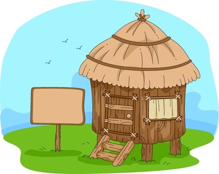 Illustration of a Hut in the Middle of a Field illustration