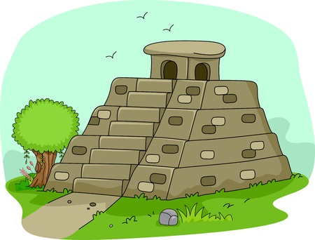 mesoamerican: Illustration of a Mayan Pyramid Stock Photo