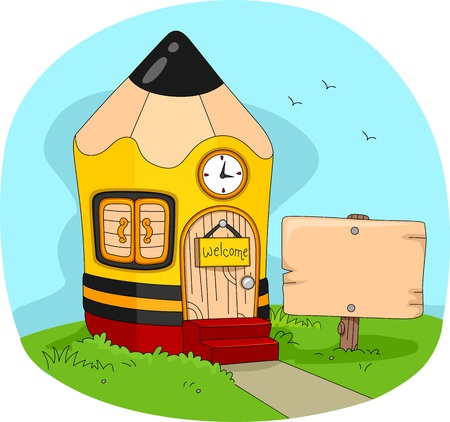 Illustration of a House Shaped Like a Pencil illustration