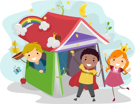 Illustration of Kids Acting Out Stories from a Children's Book Stock Illustration - 12917509
