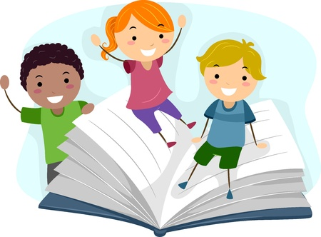 escuela infantil: Ilustración de niños jugando con un libro gigante Foto de archivo
