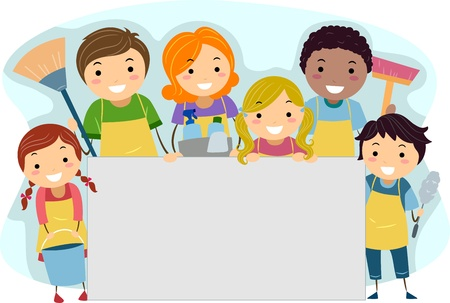 cleaning team: Ilustraci�n de una familia todo listo para la limpieza Foto de archivo