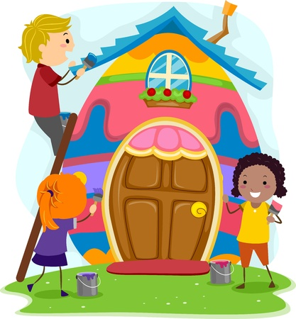 Illustration of Kids Turning a House into an Easter Egg illustration