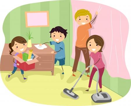 family clipart: Illustrazione di una famiglia che fa Alcuni Pulizie di primavera