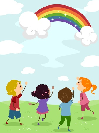 Illustration of Kids Admiring a Rainbow illustration