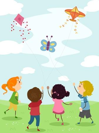 Ilustración de niños volando cometas